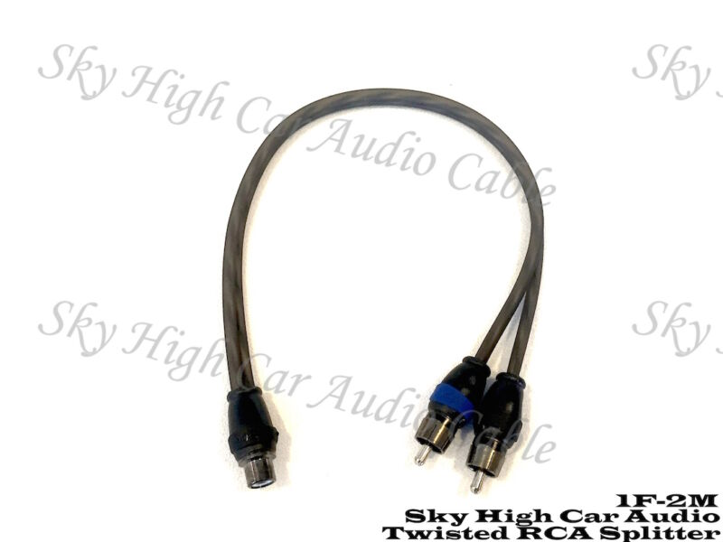 Sky High Car Audio Twisted 2 Male 1 Female RCA Splitter Cables OFC 2M1F