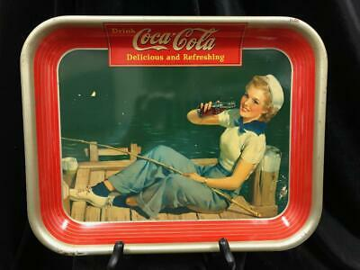 VINTAGE 1940 COCA COLA COKE SERVING TRAY SAILOR GIRL FISHING VERY GOOD CONDITION