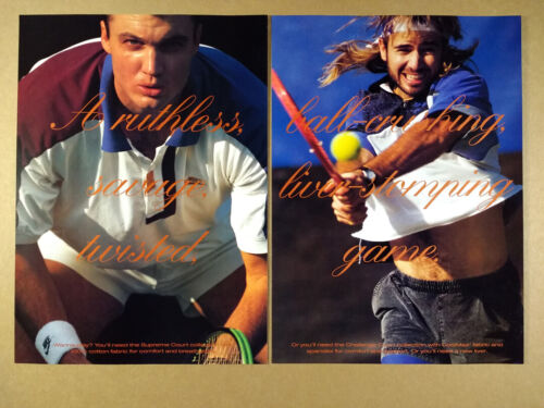 1992 Nike Air Tennis Shoes Andre Agassi photo vintage print Ad