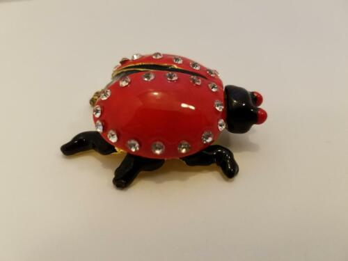 Jeweled Enamel Over Metal Ladybug Trinket Jewelry Box Bright Red/Yellow Magnetic