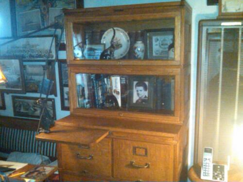 Yawman & Erbe Oak Lawyer Bookcase & File Cabinet c 1910