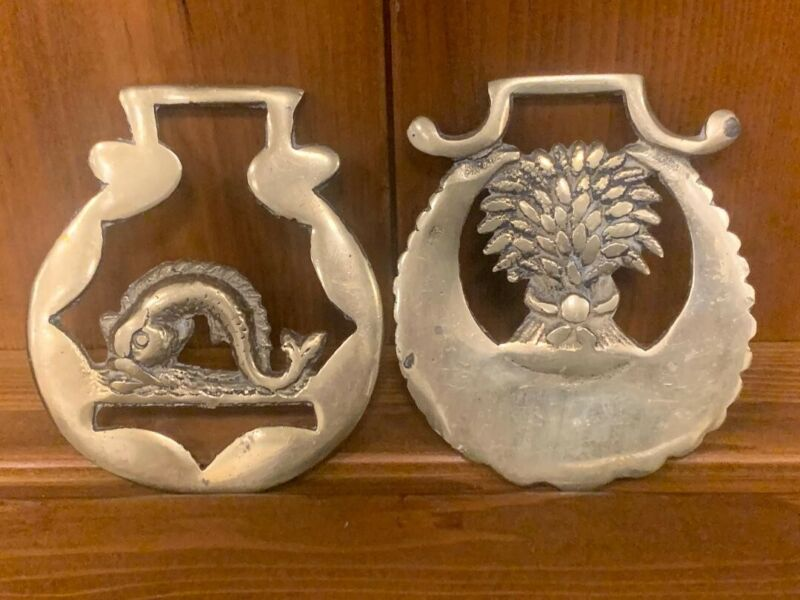 Vintage Brass Horse Medallions - Lot of 2