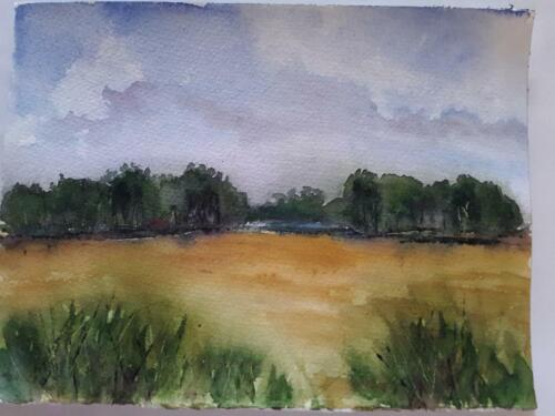 Original Watercolor Painting, Landscape, signed, matted, Trees,  Michele Helders