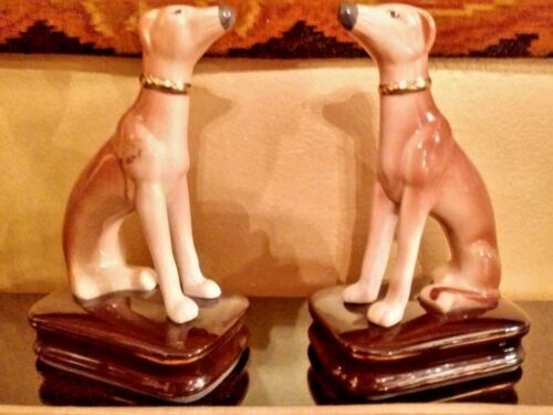 PAIR OF SWEET FACED 6.75 in HAND PAINTED PORCELAIN ELEGANT DOG PIGURINES BY CBK