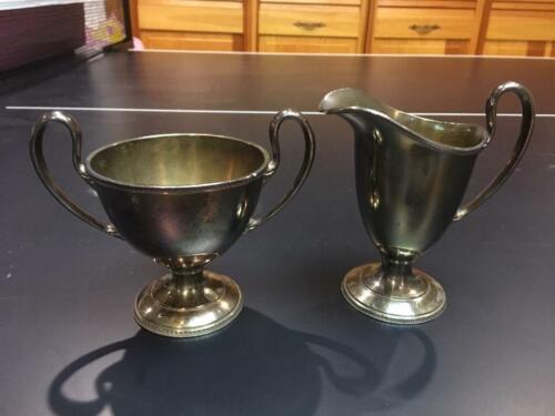 Antique Pairpoint Quadruple Plate Sugar Bowl & Creamer Set #B2011