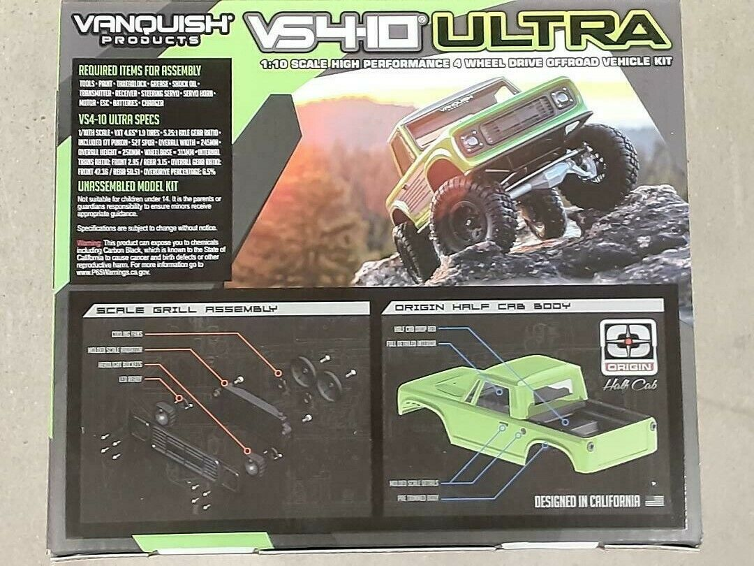 Vanquish Products VS4-10 Ultra Rock Crawler Kit W/Origin Half Cab Body Silver  - $829.99