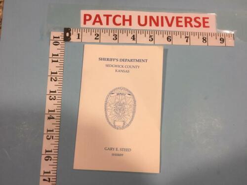 OFFICIAL BOOKLET SEDGWICK COUNTY KANSAS  SHOULDER PATCH   E127