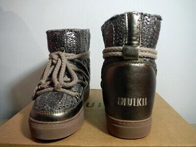 women's INUIKII Dark Metallic Sheepskin Sneaker Boot