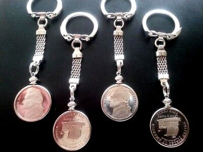 One BU KeelBoat PROOF 2004s Lewis/Clark Nickel Keychain Pendant Charm Coin Bezel