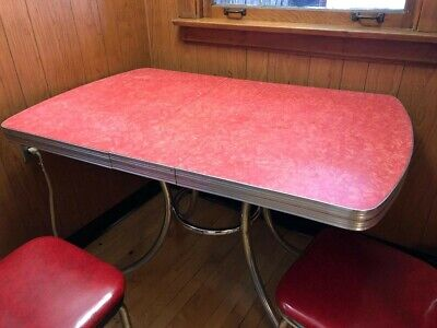 Vintage Red Kitchen Table And 4  Chairs AND MATCHING CART!