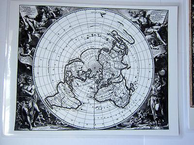 Laminated Flat Earth Map of the World mini map Planispherium Terrestre 9 x 11.5