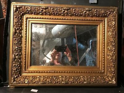 Exquisite Gold Wood Frame - Antique Exquisite Gold Wood Ornate Picture or Mirror Frame, 19-20th C