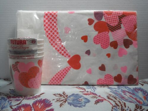 Vintage 1960s Valentine Hearts Paper Tablecloth & Cups Mid Century Kitsch NOS