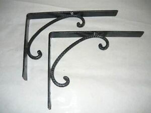 Coppia reggimensola mensole in ferro battuto da parete ebay for Mensole in ferro battuto