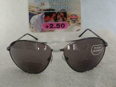 Foster Grant Gunmetal Gray Bifocal Aviator SunReaders Reading Sunglasses +2.50
