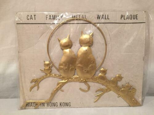 Vintage Gold Metal Cat Family Wall Plaque