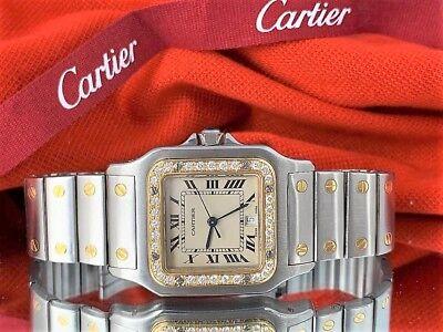 Mens Cartier Santos Solid 18K Gold Bezel Man Cartier Diamond Bezel watch Cartier
