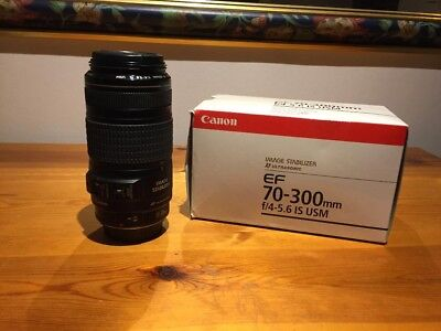 Canon EF 70-300mm F4-5.6 Image Stabilizer USM Zoom Lens Front & Rear Caps boxed
