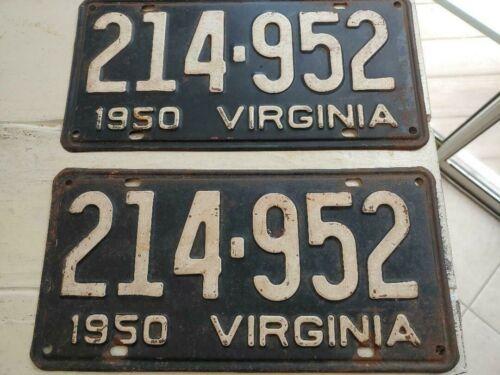 VINTAGE 1950 VIRGINIA LICENSE PLATE SET STRAIGHT AND UNDAMAGED