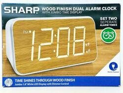 SHARP Wood Finish Dual Alarm Clock With Jumbo Time Display Electric FAST SHIP B3