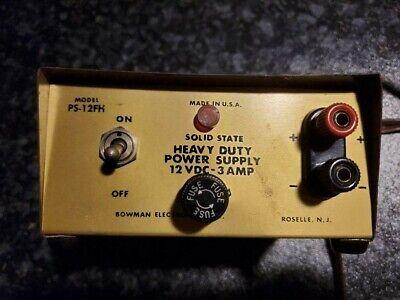 Vintage Bowman Electronics Ps-12fh 12 Volt Dc 3 Amp Heavy Duty Power Supply