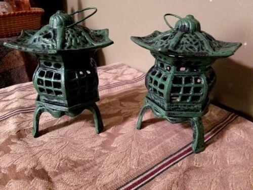 Set of 2 Large Cast Iron Pagoda  Lantern with Handle Tea light Patio Decor