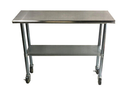 Commercial Stainless Steel Food Prep Work Table 14 X 30 With Casters Wheels
