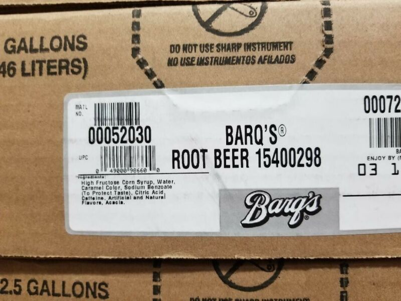 Barq Root Beer 2.5 Gal BIB Soda Fountain Syrup Bag in Box Concentrate