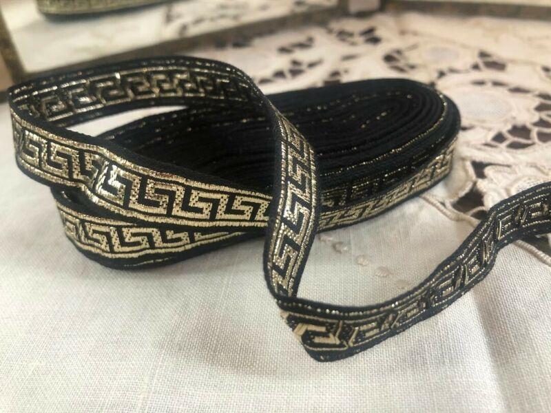 "VINTAGE Black Gold Lame GREEK KEY RIBBON Dress Trim Yardage 6.5 Yards 1/2"" Wide"