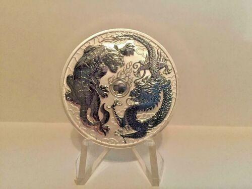2018 Australian Dragon & Tiger 1 Oz Reversed Proof-Like Silver Capsuled BU Coin