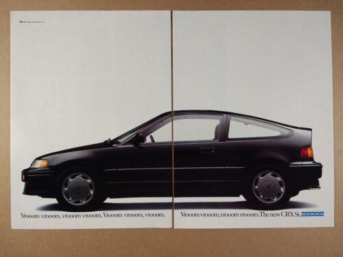 1988 Honda CRX Si black car photo vintage print Ad