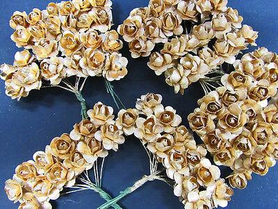 96 Mulberry Paper Rose Flower/wedding Favors/craft/bouquet H420-Metallic Gold