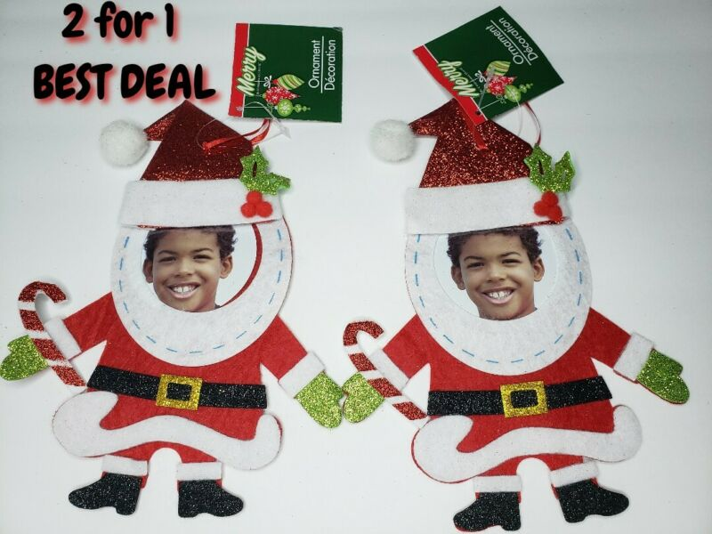Christmas Santa decoration 2 pack glitter hanging costom picture