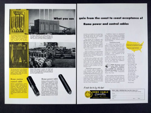 1954 Niagara-Mohawk Glenmont Station Rome Power & Control Cable vintage print Ad