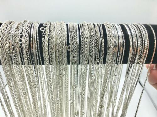 24 Piece Bulk Chain Assortment Sterling Silver Finish MADE IN USA