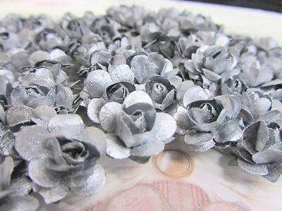 96 Mulberry Paper Rose Flower/wedding Favors/craft/bouquet H420-Metallic Silver