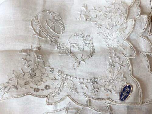Vintage Monogram HANKY Wedding Bridal Madeira Embroidered MONO White Linen L