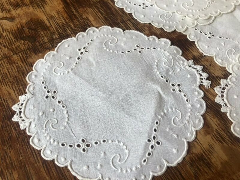 9 Antique White MADEIRA Linen Cutwork Embroidery Round Doilies Coasters Vintage