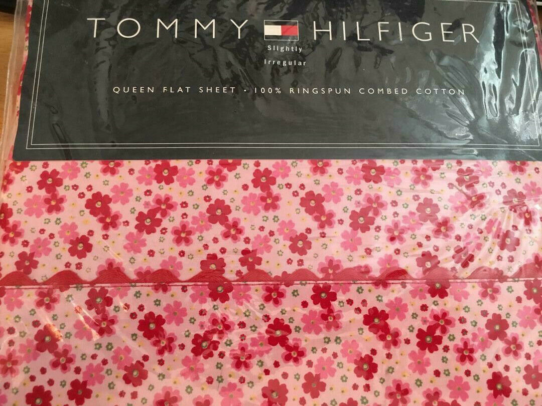 NEW Tommy Hilfiger JENNA QUEEN Flat Sheet Red Pink Floral Co