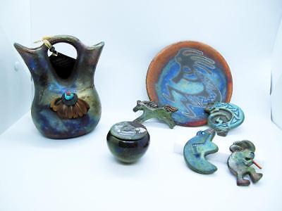 Jeremy Diller Raku Pottery Native American Wedding Vase Set Of 7