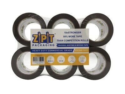 Zipit Packaging Premium Packing Tape Brown 3 Inch 110 Yards Lengthroll 6 Rolls