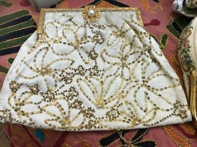 VINTAGE 1920s Ladies DELICATE HAND MADE BAG  BEADS AND PEARLS