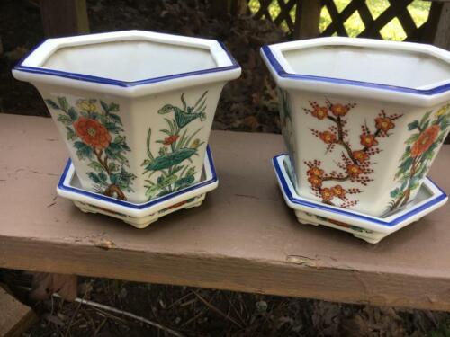 Pair of Chinese Flower Bonsai Pot Planter