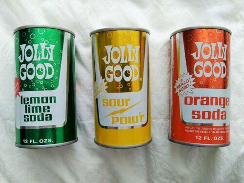 3 Vintage 12oz Jolly Good Straight Steel Soda Pop Cans Random Lake Wisconsin