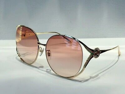 New Authentic Gucci GG0225S 005 Gold Pink Oversize Women Sunglasses