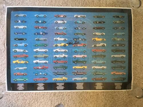 CARROLL SHELBY HAND SIGNED Mustang,Cobra and GT40 SAAC Original Poster.