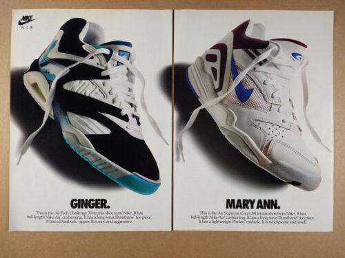 1992 Nike Air Tech Challenge & Air Supreme Court Tennis Shoes vintage print Ad