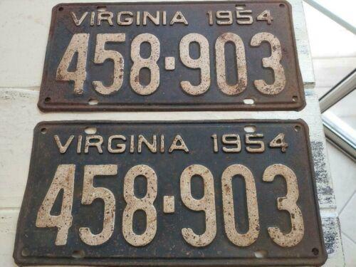 VINTAGE 1954 VIRGINIA LICENSE PLATE SET