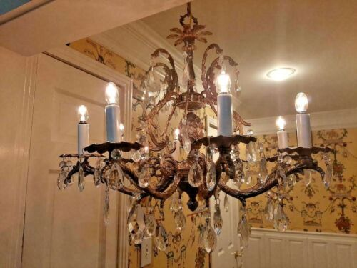 LARGE PINEAPPLE BRASS CRYSTAL SPANISH CHANDELIER, loaded w lead crystals, 8 arm