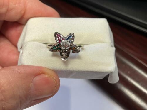 Vintage Ladies Eastern Star 10K White Gold Gemstone Ring, Estate Jewelry!